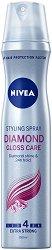 """Nivea Diamond Gloss Styling Spray - Лак за коса за блясък с екстра силна фиксация от серията """"Diamond Gloss"""" - продукт"""
