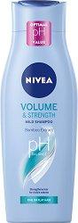 """Nivea Volume & Strength Mild Shampoo - Шампоан за обем от серията """"Volume"""" - очна линия"""