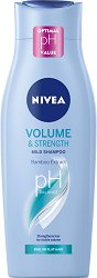 "Nivea Volume & Strength Mild Shampoo - Шампоан за обем от серията ""Volume"" - душ гел"
