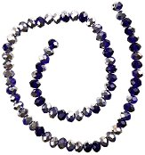 Двуцветни галванизирани мъниста - тъмно сини