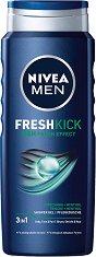 """Nivea Men Cool Kick Shower Gel - Душ гел за мъже за лице, коса и тяло с ментол от серията """"Cool Kick"""" - шампоан"""