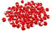 Кръгли мъниста със сърца - червено и бяло - Опаковка от 20 g