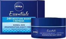 Nivea Essentials 24 Moisture Boost + Refresh Night Cream - Възстановяващ нощен крем за нормална кожа -