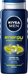 Nivea Men Energy Shower Gel - Енергизиращ душ гел за мъже за лице, коса и тяло с ментол - душ гел