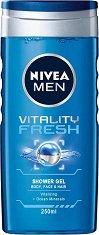 Nivea Men Vitality Fresh Shower Gel - Душ гел за мъже за лице, коса и тяло с морски минерали - дезодорант