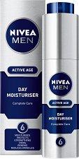 Овлажняващ дневен крем за мъже - Nivea Men Active Age - За зряла кожа против бръчки - ролон