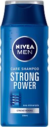 Nivea Men Care Shampoo Strong Power - Шампоан за мъже с морски минерали за ежедневна употреба - серум