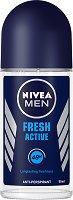 """Nivea Men Fresh Active Anti-Perspirant Roll-On - Ролон дезодорант за мъже против изпотяване от серията """"Fresh Active"""" - продукт"""