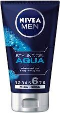Nivea Men Aqua Mega Strong Styling Gel - Гел за коса за мъже с мокър ефект -