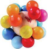 Дрънкалка - Цветен таралеж - Дървена играчка - играчка