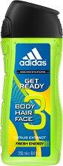 """Душ гел и шампоан за мъже - 2 в 1 - От серията """"Adidas Men Get Ready"""" -"""