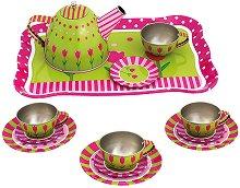 Метален сервиз за чай - Детски комплект за игра - играчка