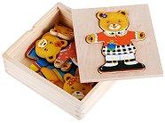 Облечи мечето Берта - Дървена играчка -