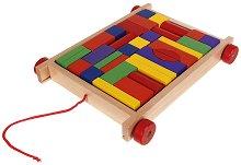 Дървени кубчета в количка - Образователна играчка -
