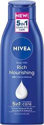Nivea Rich Nourishing Body Milk - Подхранващо мляко за тяло с бадемово масло за суха кожа - душ гел