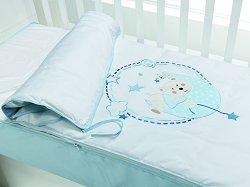 Спален комплект за бебешко креватче - Мече и луна - 3 части с цип и олекотена завивка -