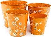 Метални кашпи - Metallo arancione - комплект от 4 броя