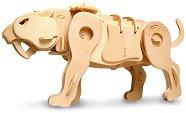 Саблезъб тигър - Дървен 3D пъзел-робот със звуков контрол -