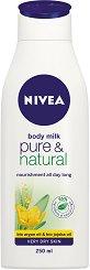 """Nivea Pure & Natural Body Milk - Мляко за тяло с арганово масло и масло от жожоба от серията """"Pure & Natural"""" - лосион"""