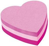 Самозалепващи неонови листчета в три цвята - Сърце - Кубче от 225 листчета с размери 7 x 7 cm
