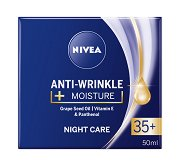 Nivea Anti-Wrinkle + Moisture Night Care 35+ - Хидратиращ нощен крем за лице против бръчки - мляко за тяло