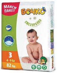 Пелени за еднократна употреба - Бочко 3 - 82 броя в пакет за бебета с тегло 4 - 9 kg - продукт