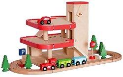 Гара с паркинг - Сглобяема дървена играчка - творчески комплект