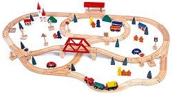 Дървено влакче с релси и ЖП мост - играчка