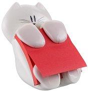 Диспенсър за Z-листчета - Котка - Комплект с кубче Z-листчета в маков цвят