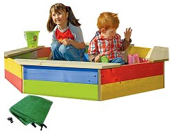Детски пясъчник от дърво с покривало - играчка