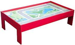 Дървена игрална маса за влакчета - играчка