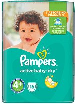 Pampers Active Baby Dry 4 - Maxi Plus - Пелени за еднократна употреба за бебета с тегло от 9 до 16 kg - шише