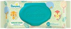 Pampers Natural Clean Baby Wipes - Бебешки мокри кърпички в опаковки от 1 ÷ 4 пакета - крем