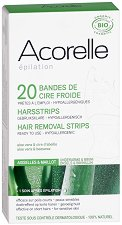 Acorelle Hair Removal Cold Wax Strips - Комплект от 20 броя епилиращи ленти за бикини зона и подмишници - лак