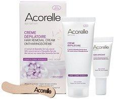 Acorelle Hair Removal Cream - Комплект от крем депилатоар за лице и успокояващ крем с натурални масла - шампоан