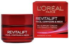 """L`Oreal Revitalift Face, Contours and Neck Re-Support Cream - Крем за възстановяване контура на лицето и шията от серията """"Revitalift"""" - лосион"""