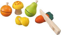 Плодове и зеленчуци - Детски комплект за игра от дърво -
