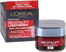 "L'Oreal Revitalift Laser Renew Deep Anti-Ageing Care Day Cream - Дневен крем против бръчки от серията ""Revitalift Laser Renew"" - серум"