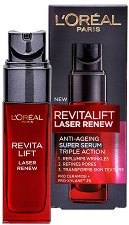 "L'Oreal Revitalift Laser Renew Anti-Ageing Super Serum - Серум против стареене от серията ""Revitalift Laser Renew"" - крем"