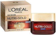 """L'Oreal Nutri-Gold Rich Night Cream - Възстановяващ нощен крем за суха кожа от серията """"Nutri-Gold"""" - руж"""