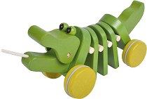 Танцуващо крокодилче - Дървена играчка за дърпане -