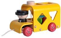 Автобус с формички - Дървена играчка за дърпане и сортиране -