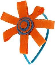 Диадема с декорация - Оранжево цвете -