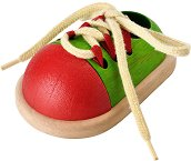 Дървена обувка - Образователна играчка за връзване - количка