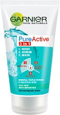Garnier Pure Active 3 in 1 - Измиващ гел, ексфолиант и маска за лице - гел