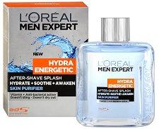 """L'Oreal Men Expert Hydra Energetic After Shave Splash - Лосион за след бръснене с антибактериален ефект от серията """"Men Expert Hydra Energetic"""" - сапун"""