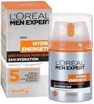 """L'Oreal Men Expert Hydra Energetic Cream - Крем за лице срещу признаците на умора от серията """"Men Expert Hydra Energetic"""" - маска"""