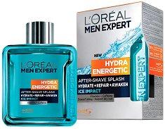 "L'Oreal Men Expert Hydra Energetic After Shave Splash - Ice Impact - Лосион за след бръснене с охлаждащ ефект от серията ""Men Expert Hydra Energetic"" - душ гел"