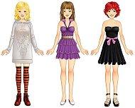 Модерни момичета - Комплект с магнитни дрехи - играчка