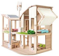 Екологична къща за кукли с мебели и аксесоари - Детска дървена играчка -